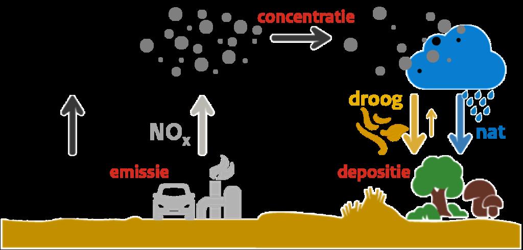 Plaatje afkomstig van het RIVM die de stikstofproblematiek illustreert