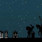 Silhouette van Sinterklaas en Piet op het dak