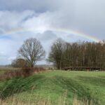 Deze afbeelding van een regenboog die zich beweegt tussen het grijs en het blauw illustreert onze weg naar betere tijden