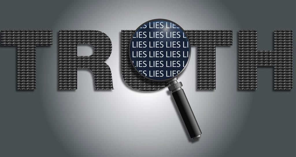 Deze afbeelding illustreert de reflectie over de afgelopen week want in de waarheid schuilt een leugen